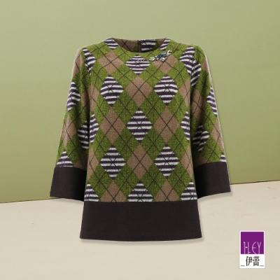ILEY伊蕾 撞色幾何菱格紋拼接上衣(綠)