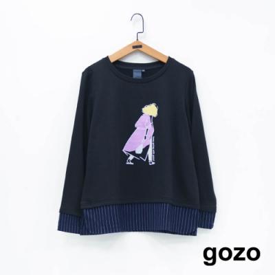 gozo 女人背影假兩件上衣(二色)