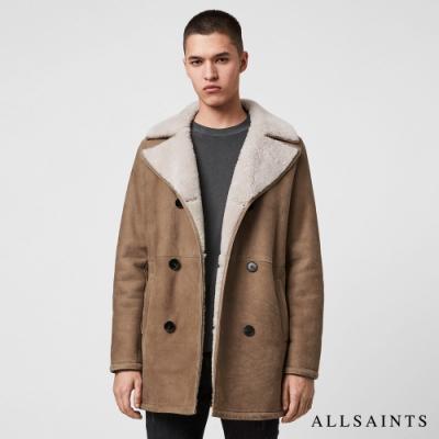 ALLSAINTS KENLEY 保暖舒適雙排扣羊皮大衣-棕褐