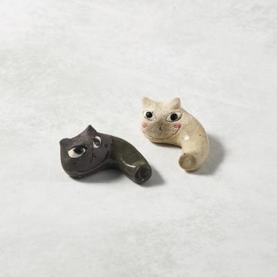 KOYOTOKI日本美濃燒 陶製手作筷架 - 貓咪彎彎雙件組