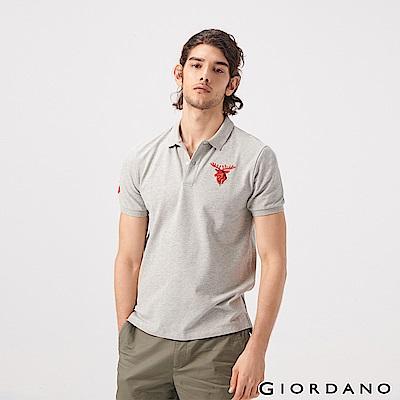 GIORDANO 男裝麋鹿漸層刺繡短袖POLO衫-03 中花灰