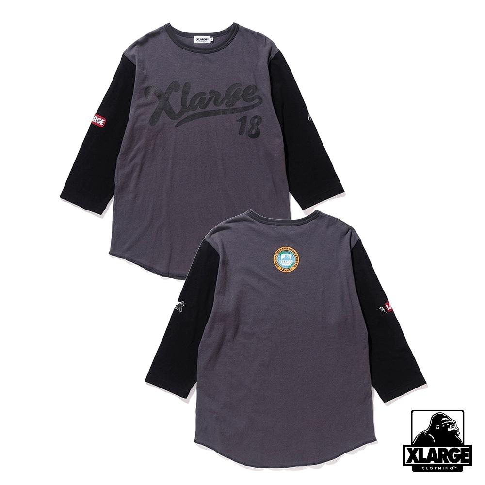 XLARGE H/S BASEBALL TEE七分短袖-黑