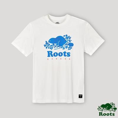 Roots男裝-開拓者系列 等高線海狸LOGO短袖T恤-白色