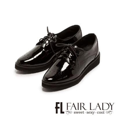 Fair Lady沖孔雕花漆皮綁帶厚底牛津鞋 黑