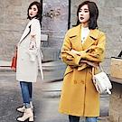 韓版刺繡寬袖毛呢大衣-M~2XL(共二色)-SZ