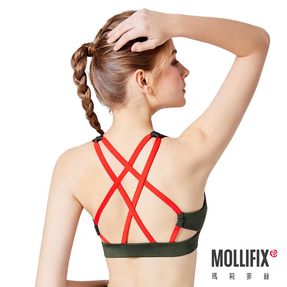 Mollifix 瑪莉菲絲 Active+撞色美背編織運動BRA (墨綠)