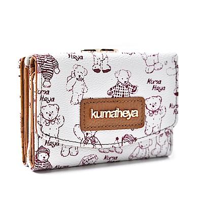 kuma heya -美國熊3層式夾扣零錢袋短夾-白