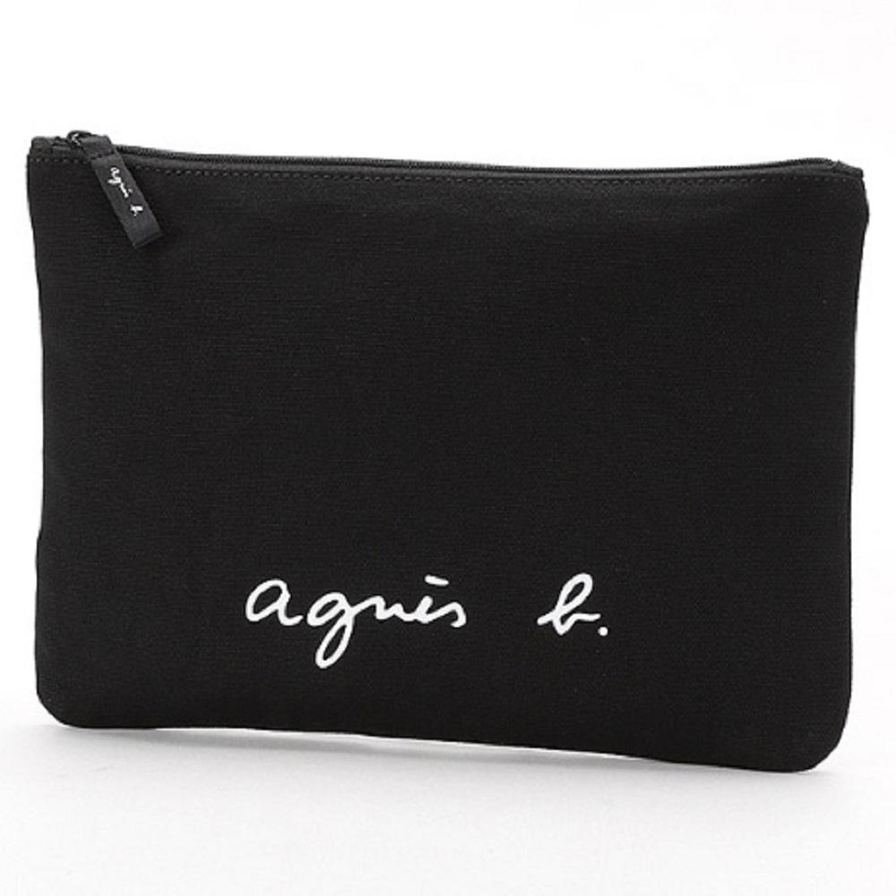 agnes b. Voyage 大型草寫LOGO帆布隨身包 (黑)