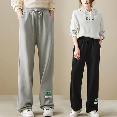 悠美學-日系簡約純色百搭鬆緊繫繩造型長褲-2色(L~2XL)