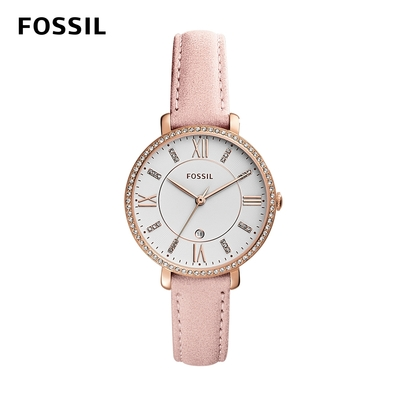 【FOSSIL】Jacqueline 耀眼鑲鑽優雅女錶  粉色真皮錶帶 36MM ES4303