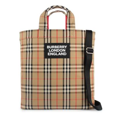 [時時樂]BURBERRY Vintage 經典格紋皮革LOOG標誌手提/斜背兩用托特包-典藏米色