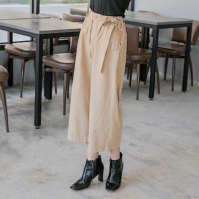 造型腰頭綁帶高含棉純色寬版褲-OB嚴選