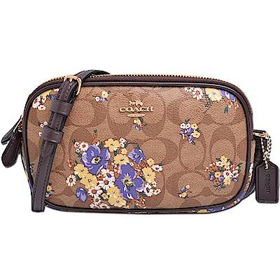 COACH 經典滿版LOGO花卉圖案防刮皮革雙層拉鍊斜背包-深卡其x焦糖色