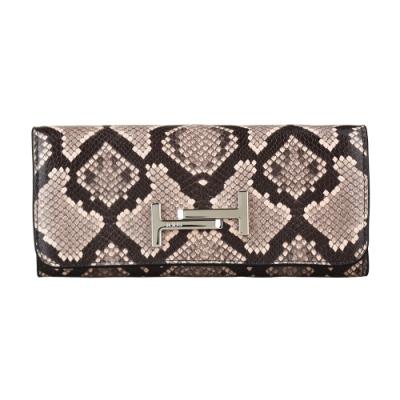 TOD S DOUBLE-T銀字LOGO蛇紋設計牛皮18卡扣式長夾(粉紅x黑)