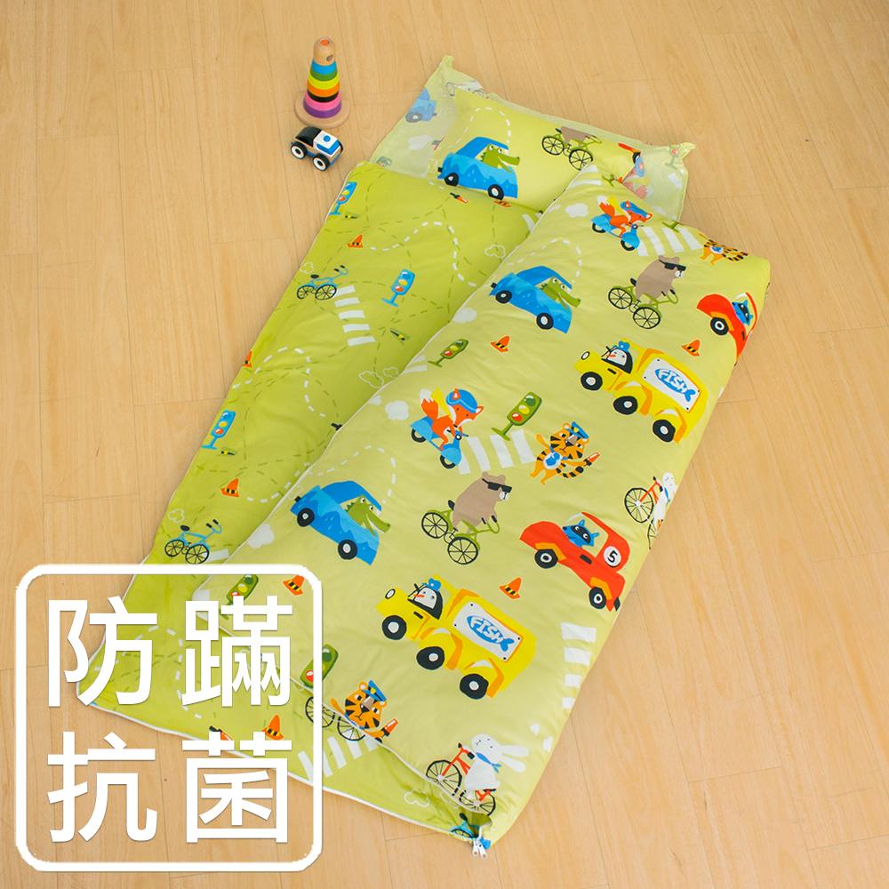 鴻宇 防蟎抗菌 可機洗被胎 兒童冬夏兩用睡袋 美國棉 精梳棉 旅行家-黃綠