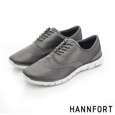 HANNFORT ZERO GRAVITY翼紋雕花牛津氣墊鞋 女 銀鐵灰