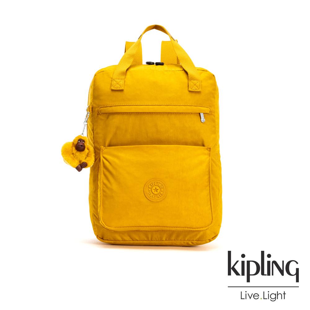 Kipling 亮眼芥末黃大容量實用手提後背包-NEW SALEE