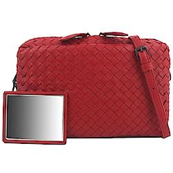 BOTTEGA VENETA 小羊皮經典手工編織斜背包(紅色)