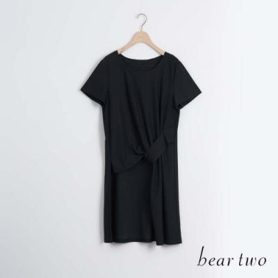 beartwo- 修身剪裁素色圓領長上衣-黑