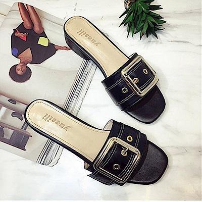 韓國KW美鞋館 獨家秒殺優雅女伶水鑽有跟拖鞋-黑色