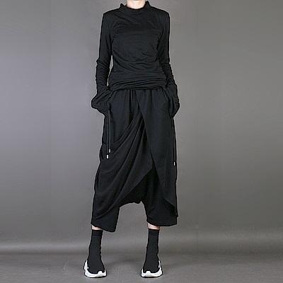 垮褲寬鬆九分褲雪紡拼接不規則大襠褲-設計所在 MP1750