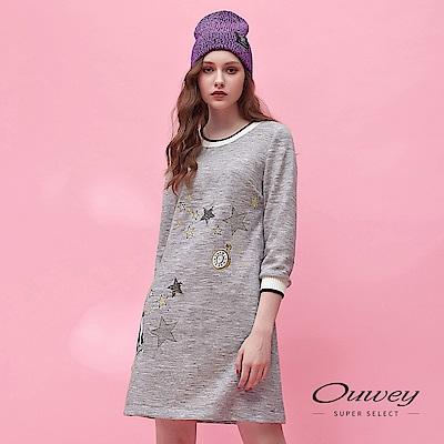 OUWEY歐薇 織蔥刺繡圖案造型羅紋剪接圓領長版洋裝(灰)