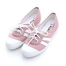 ZUCCA-日系綁繩拼橫紋平底鞋-粉-z6616pk