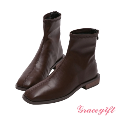 Grace gift-ETUDE leather shop-俐落方頭平底短靴 咖