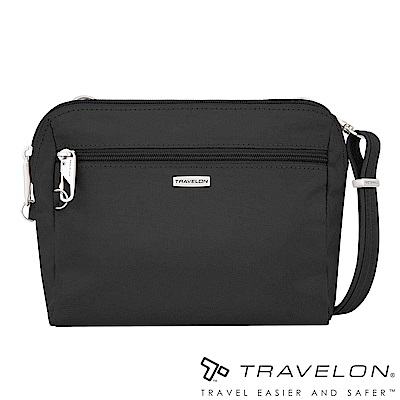Travelon美國防盜包 經典防割鋼網休閒斜背包/腰包兩用(TL-43227-18黑)