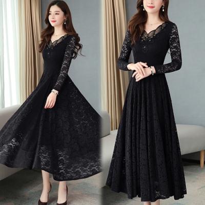 【韓國K.W.】(預購)純色蕾絲春季新品上架長袖洋裝-3色