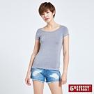 5th STREET 涼感素色 短袖T恤-女-麻灰色