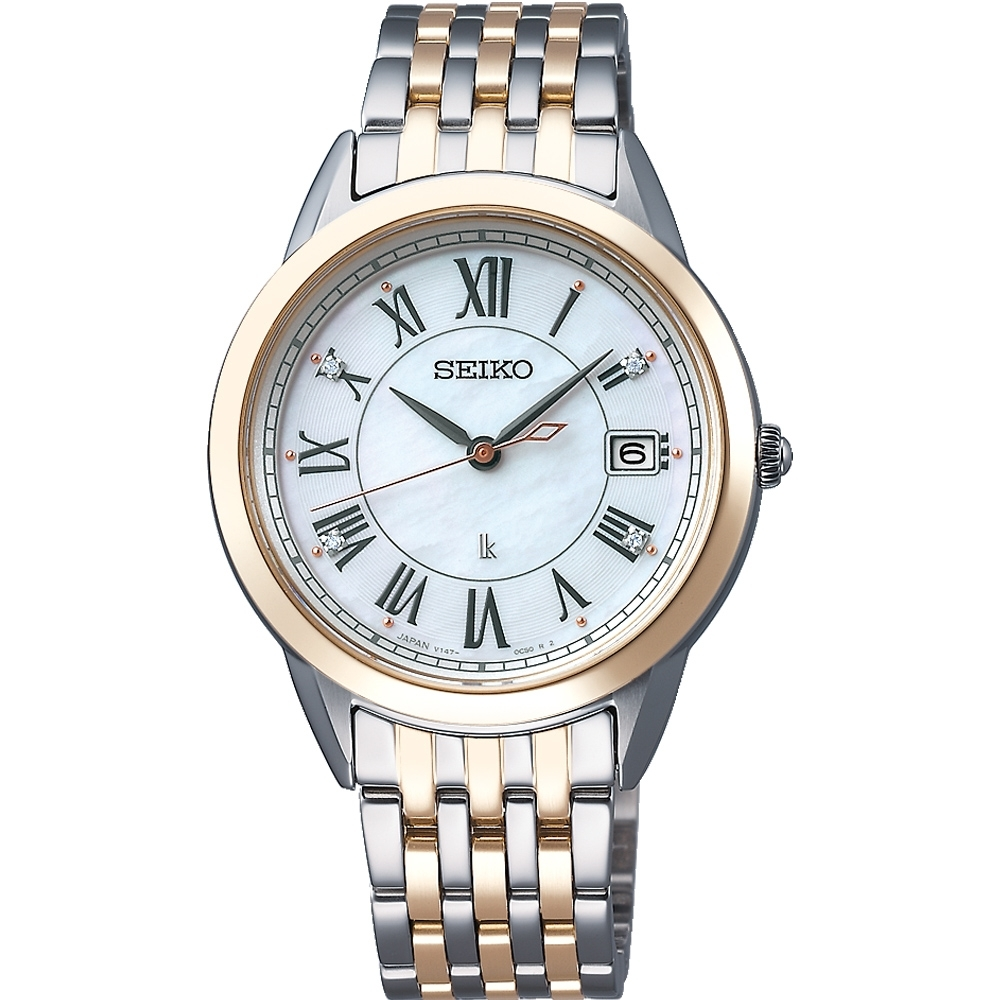 SEIKO精工 LUKIA 純淨之心真鑽太陽能腕錶 V147-0CR0KS/SUT396J1-33.9mm