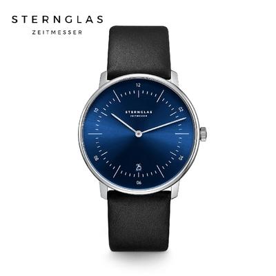 STERNGLAS 德國希丹格斯 S01-NA06-PR07 簡約時尚藍盤文青石英錶(黑錶帶) 38mm 男/女錶