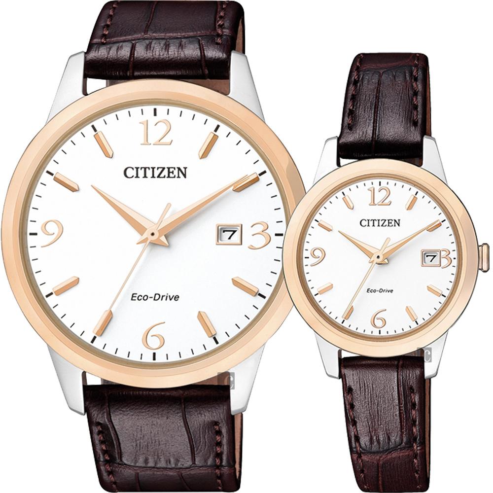 CITIZEN 星辰 光動能簡約對錶-玫瑰金圈x咖啡/40+27mm @ Y!購物