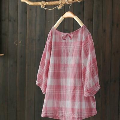燈籠袖格子t恤寬鬆時尚七分袖印花上衣-設計所在
