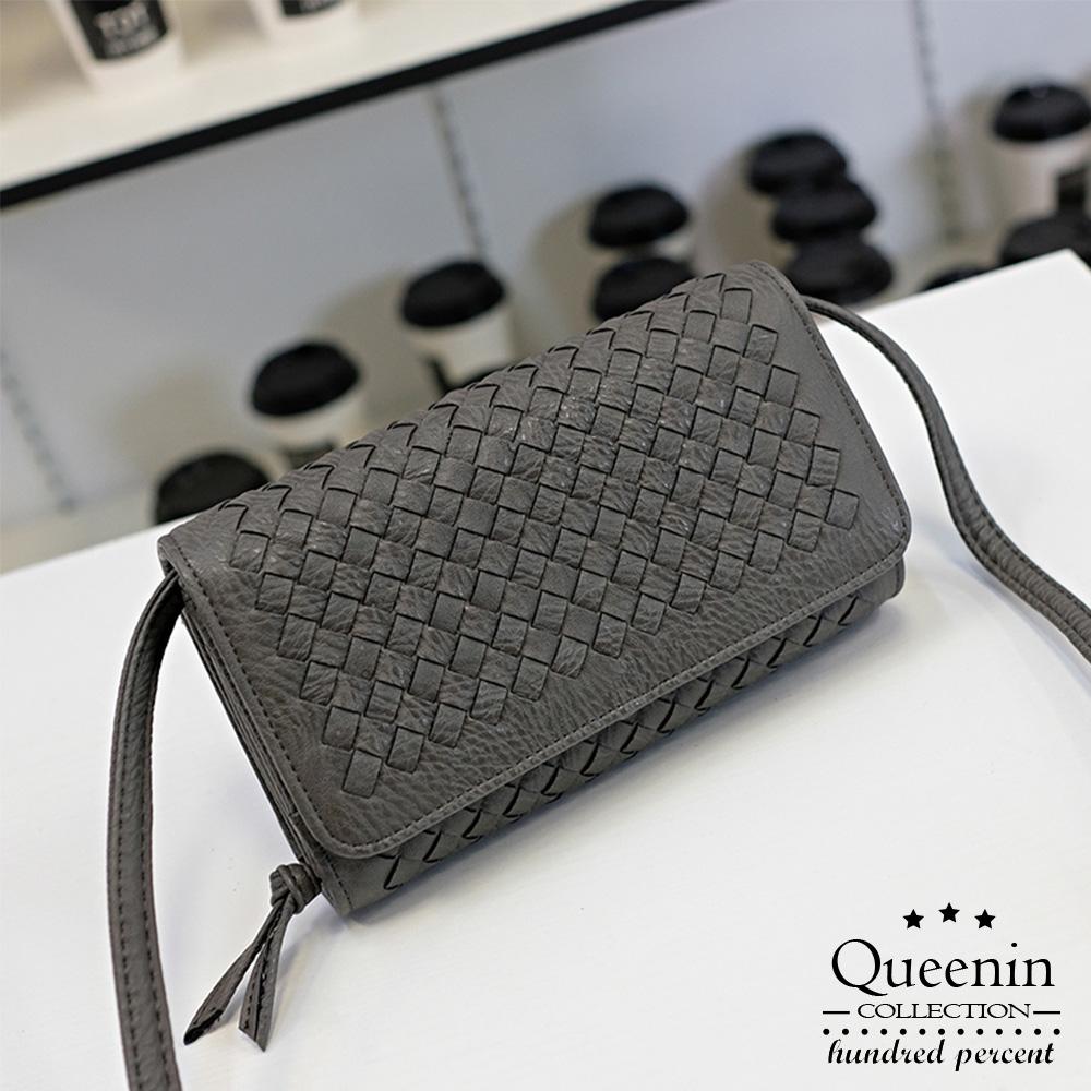 DF Queenin日韓 - 韓版多功能編織手拿單肩斜跨包-共2色