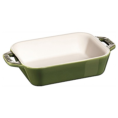 Staub 長形烤盤 烤皿 焗烤盤 14x11cm 綠色