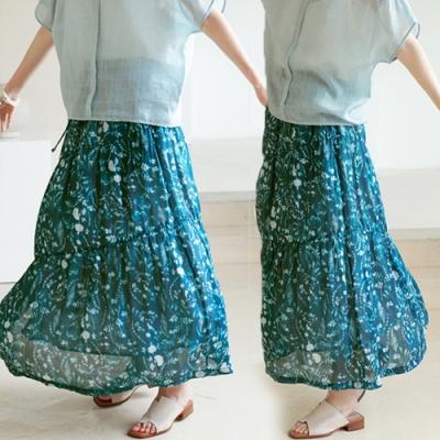 100支苧麻數碼環保印雙層有襯靛藍色碎花長裙-設計所在