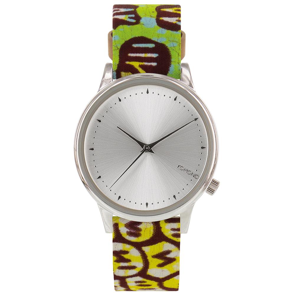 KOMONO Estelle 聯名腕錶-銀x非洲印花/36mm