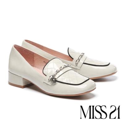 高跟鞋 MISS 21 氣質精緻小香風全真皮樂福高跟鞋-米