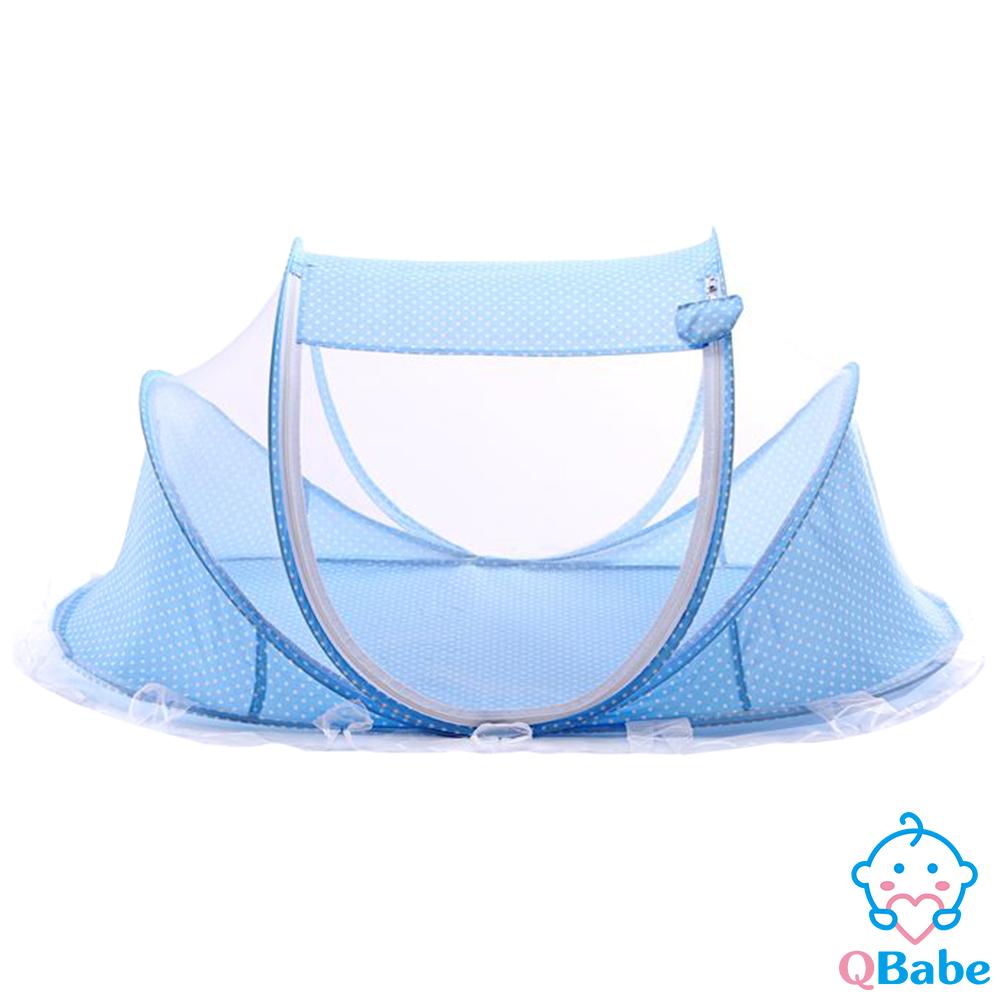 QBabe 免安裝單門寶寶蒙古包蚊帳(附小枕頭)-藍色