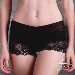 內褲  典雅蕾絲全蠶絲內褲-黑 La Queen