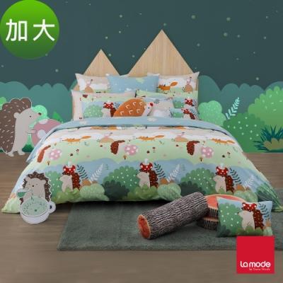 (活動)La Mode寢飾 魔力小森林環保印染100%精梳棉兩用被床包組(加大)