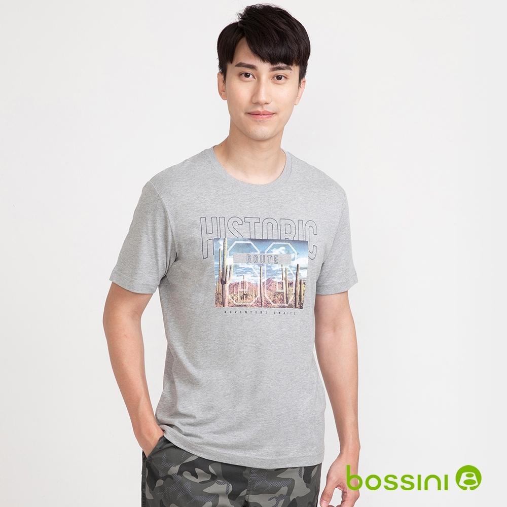 bossini男裝-印花短袖T恤07淺灰