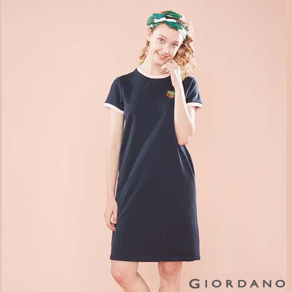 GIORDANO 女裝純棉水果刺繡連身裙-66 標誌海軍藍