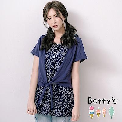 betty's貝蒂思 唯美連帽印花拼接棉質上衣(深藍)