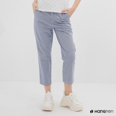 Hang Ten-女裝-TAPERED FIT鬆緊腰頭條紋緹花九分褲-藍白條紋