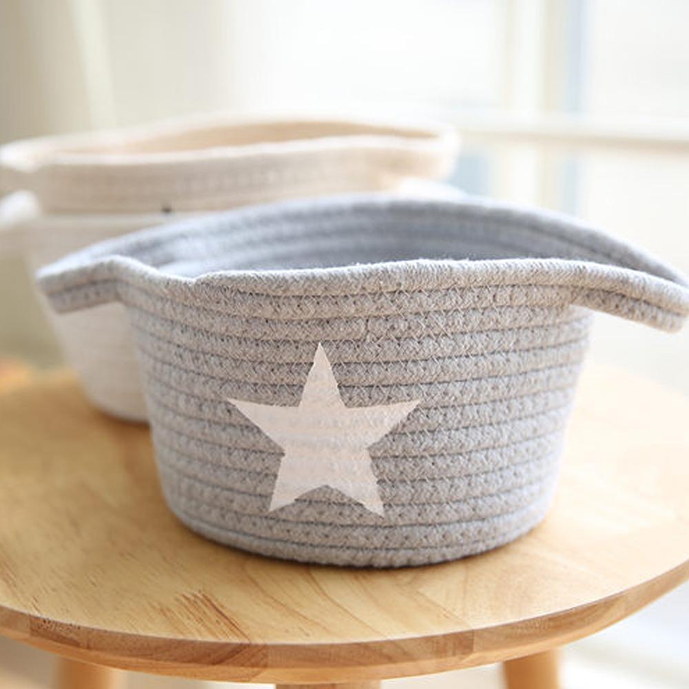 收納職人 簡約北歐手感棉線編織桌面小物置物籃/收納籃(灰底白星)