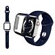 全包覆 Apple Watch Series SE/6/5/4 (44mm) 9H鋼化玻璃貼+錶殼+環保矽膠錶帶(午夜藍) product thumbnail 1