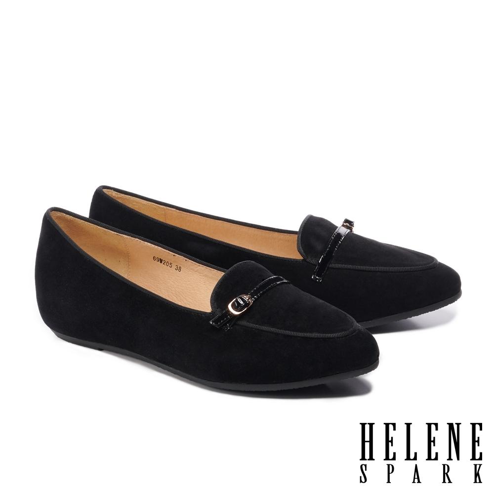 低跟鞋 HELENE SPARK 經典百搭全真皮內增高樂福低跟鞋-黑